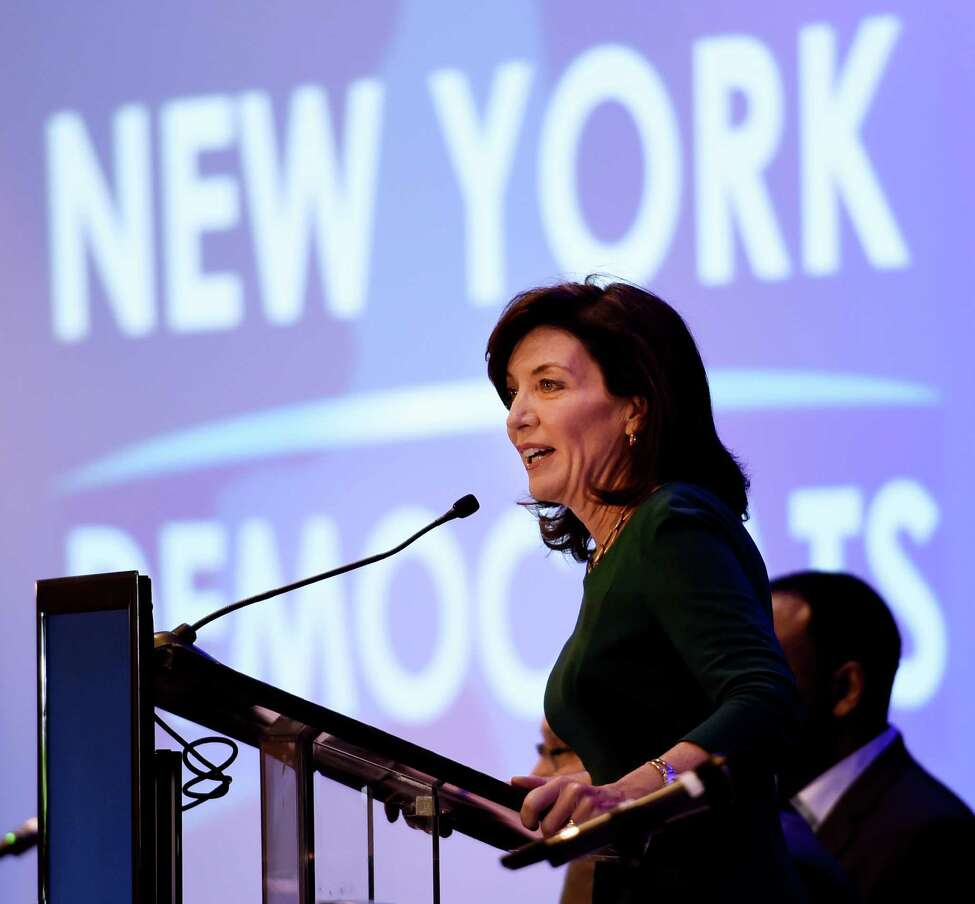 Lt. Gov. Kathy Hochul addresses the New York Democrats gathering at Monday, May 23, 2016, in Saratoga Springs, N.Y. (Skip Dickstein/Times Union)