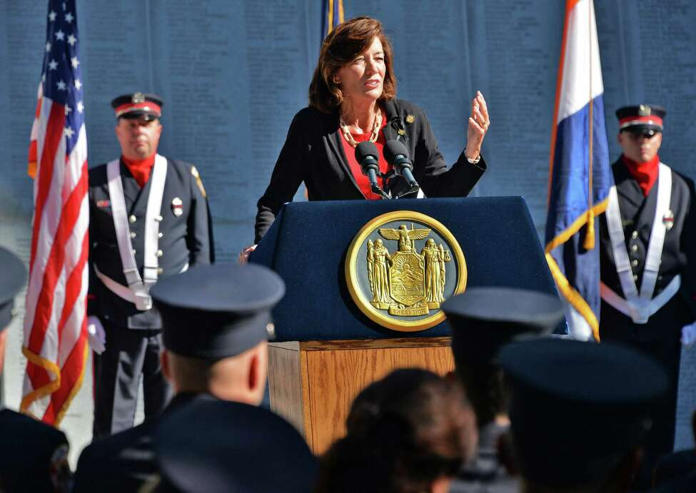 Lieutenant Governor Kathy Hochul speaks during the New York State Firefighters Memorial ceremony honoring eight fallen firefighters at the Empire State Plaza on Tuesday, Oct. 6, 2015, in Albany, N.Y. (John Carl D'Annibale / Times Union)