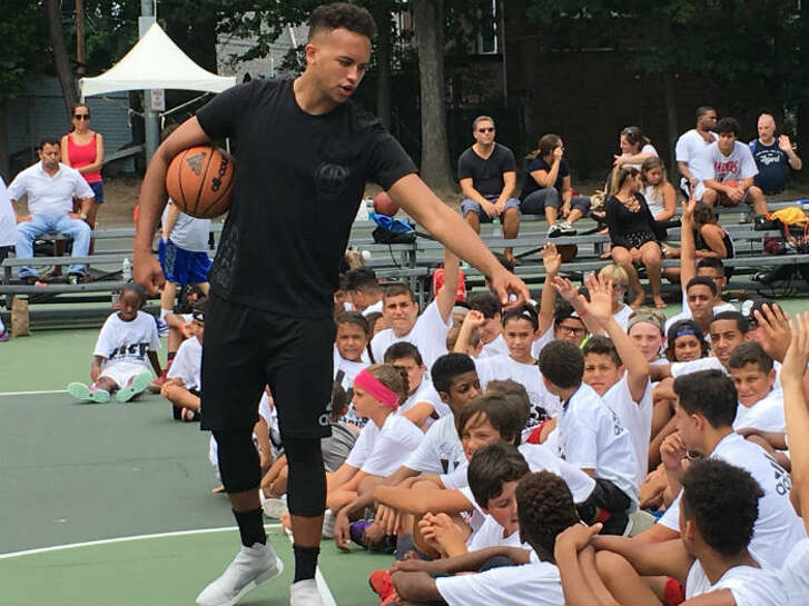 Kyle Anderson of the Spurs talks to some kids attending his Celebrate Life Annual Basketball Clinic & Tournament on Aug. 5-6, 2016, in Cliffside Park, N.J. Celebrate Life Day, which was established to honor Anderson's childhood friend Paul Kim, is a community service project to raise awareness of Suicide Prevention through education, friendship and basketball. In addition to teaching a variety of basketball and life skills.
