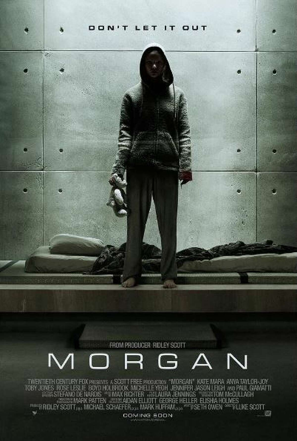 Morgan coming September 2. A corporate risk-management consultant must decide whether or not to terminate an artificially created humanoid being. Starring Kate Mara, Anya Taylor-Joy, Rose Leslie, Michael Yare.