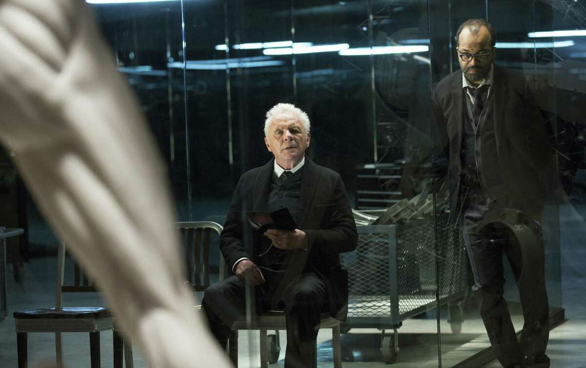 This image released by HBO shows Anthony Hopkins, left, and Jeffrey Wright in a scene from