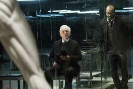 "This image released by HBO shows Anthony Hopkins, left, and Jeffrey Wright in a scene from ""Westworld,"" premiering on Oct. 2. (John P. Johnson/HBO via AP)"