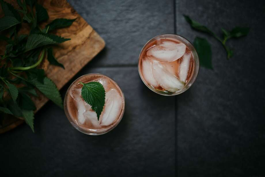Strawberry Shiso Shrubs, over ice. Photo: Nik Sharma