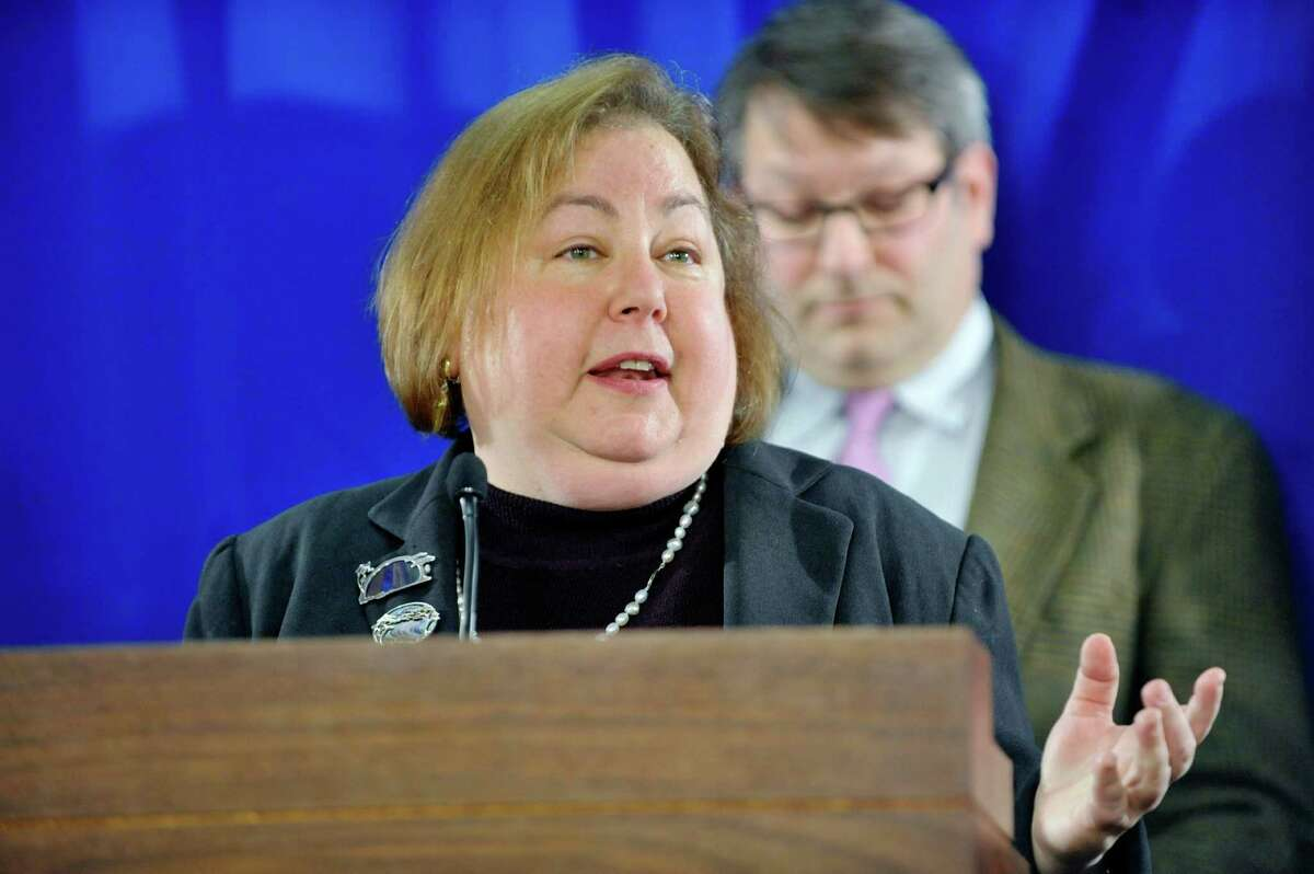 Senator Liz Krueger voices her opposition to the education investment tax credit in Governor Cuomo's budget, during a press conference on Monday, March 9, 2015, in Albany, N.Y. (Paul Buckowski / Times Union archive)