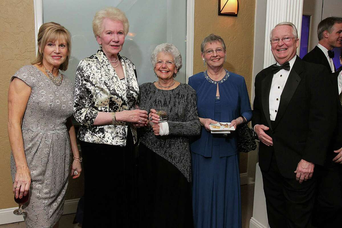 Scotia, NY - January 26, 2013 - (Photo by Joe Putrock/Special to the Times Union) - (l to r) Sandra Buhrmaster, Margaret Connoly, Sylvia Anapolis, Schenectady County Legislator Karen Johnson and Schenectady County Legislator Jim Buhrmaster during the 10th Annual Ellis Medicine Winter Gala to benefit the Ellis Medicine Golub Center for Emergency Care.