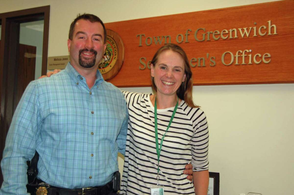 Greenwich Police Detective Sgt. Brent Reeves and Greenwich Youth Services Bureau Manager Jenny Byxbee. Byxbee is a founding member of the town's Juvenile Review Board.