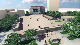 This graphic design by Bill Hamilton depicts how Alamo Plaza restored to its 1836 footprint might look.
