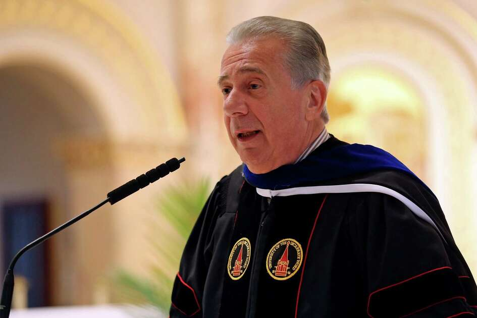 University of the Incarnate Word president Dr. Louis J. Agnese Jr., speaks during the Conferral Ceremony of Honorary Degrees celebrating his 30th anniversary as UIW president, Monday March 21, 2016 at the Chapel of the Incarnate Word. Agnese, Charles Amato, and Harley Seyedin each received a Doctor of Humane Letters, Honoris Causa the highest honor UIW can confer on an individual.
