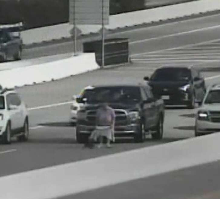 An unidentified woman saved a cat on the Sam Houston Tollway at Westview on Aug. 26, 2016.   Officials with the Harris County Toll Road Authority recommend not disrupting traffic to save animals.