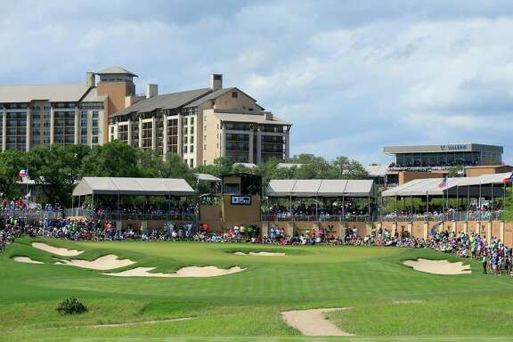 View of the 16th hole during the final round of the Valero Texas Open at TPC San Antonio AT&T Oaks Course on April 24, 2016, in San Antonio.