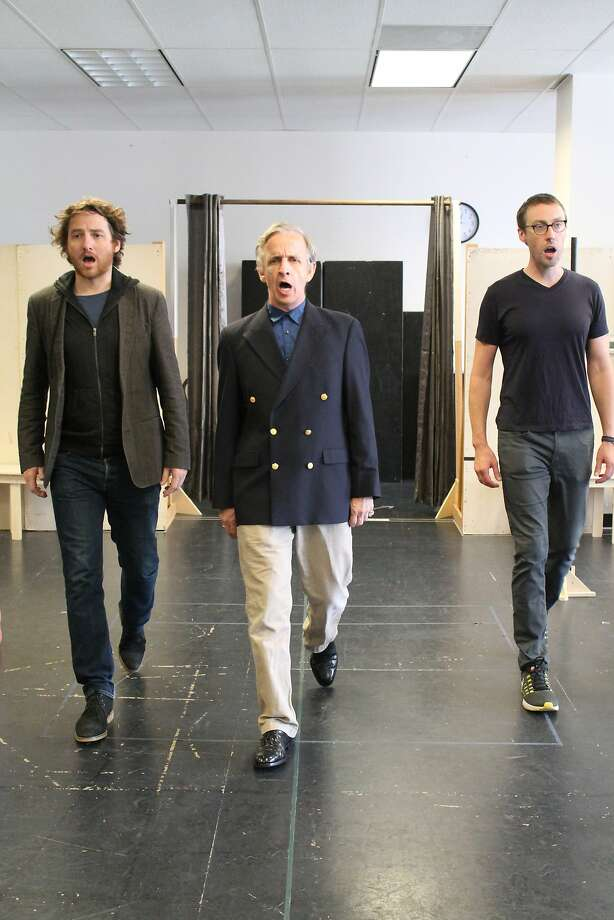 Harry Smith (Harry), Robert Joy (King Charles III), Christopher McLinden (William) rehearsal the funeral scene of Queen Elizabeth in Mike Bartlett�s award-winning play KING CHARLES III, performing September 14 � October 9, 2016 at A.C.T.�s Geary Theater. Photo credit: Ashley Gennarelli Photo: Ashley Gennarelli