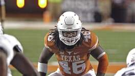 Texas linebacker Malik Jefferson waits for the snap during the second half against Rice on Sept. 12, 2015, in Austin.