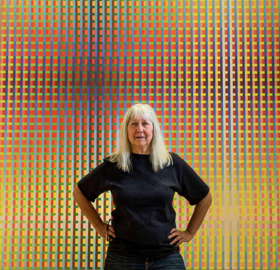 "Susie Rosmarin's pattern paintings make the most of color and geometry in ""Lines and Grids: The Lost Decade and Beyond."" Photo: Brett Coomer, Staff / © 2016 Houston Chronicle"