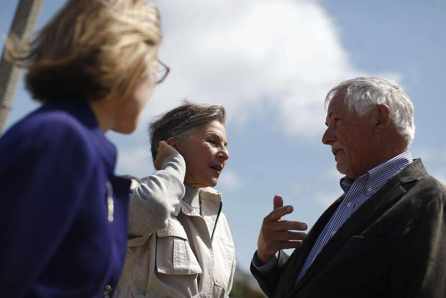 Senator Barbara Boxer (center) talks with Mark Buell(left), head of Park and Recreation and Jean Fraser (left), CEO Presidio Trust, during a press event  at the future site of the Presidio Tunnel Tops on Friday, August 26,  2016 in San Francisco, California. Photo: Lea Suzuki, The Chronicle