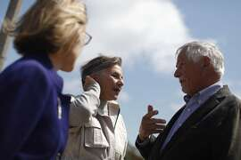 Senator Barbara Boxer (center) talks with Mark Buell(left), head of Park and Recreation and Jean Fraser (left), CEO Presidio Trust, during a press event  at the future site of the Presidio Tunnel Tops on Friday, August 26,  2016 in San Francisco, California.