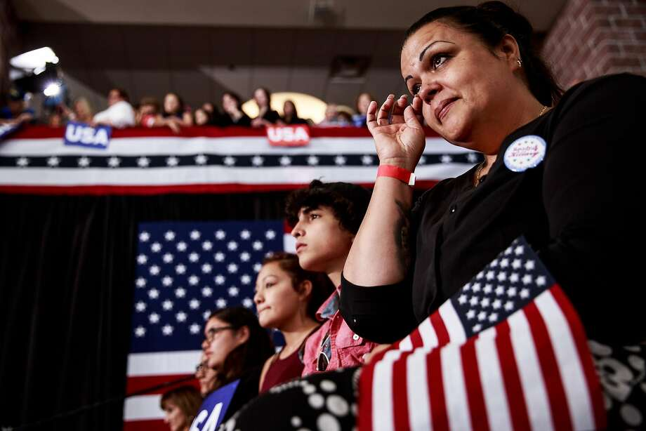 A woman in the audience wipes away a tear as Clinton speaks at a rally at Truckee Meadows Community College in Reno, where she blasted GOP rival Donald Trump on Thursday. Photo: MAX WHITTAKER, NYT