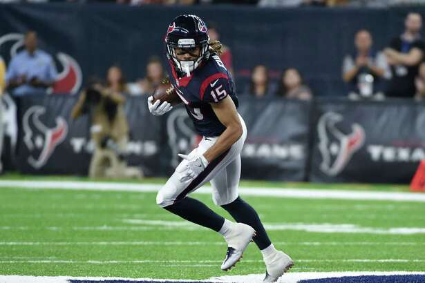 Houston Texans wide receiver Will Fuller (15) runs after a catch against the New Orleans Saints in the first half of an NFL preseason football game in Houston, Saturday, Aug. 20, 2016. (AP Photo/Eric Christian Smith)