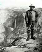 U.S. President Theodore Roosevelt stands in front of Bridal Veil Falls at Yosemite National Park. (Peter E. Palmquist collection)