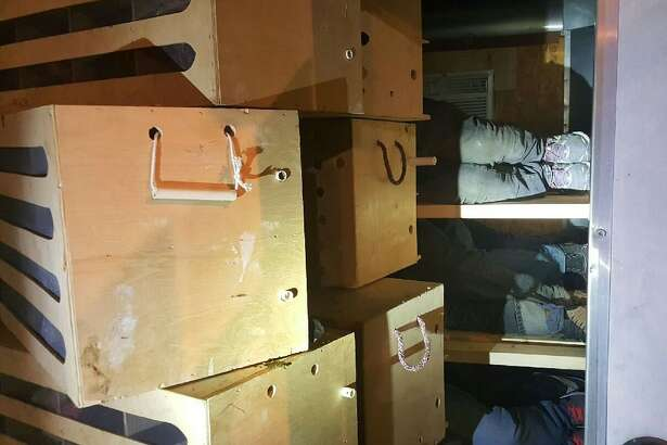 Agents with the Courtesy  U.S. Customs and Border Protection found 11 people hiding behind boxes of roosters in an SUV during a during a vehicle inspection Thursday, Aug. 25, 2016, at the Falfurrias Station Checkpoint.