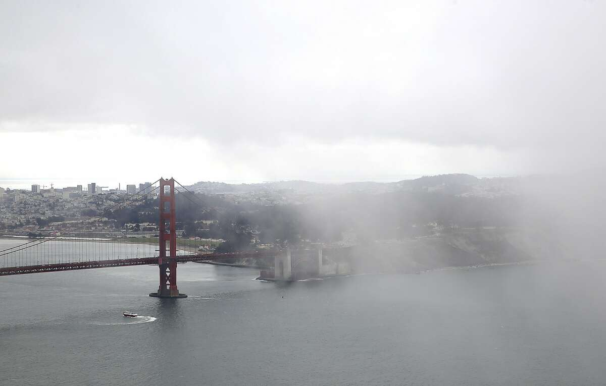 Fog seen over San Francisco from north side of the bridge on Friday, August 26, 2016, in Sausalito, Calif.