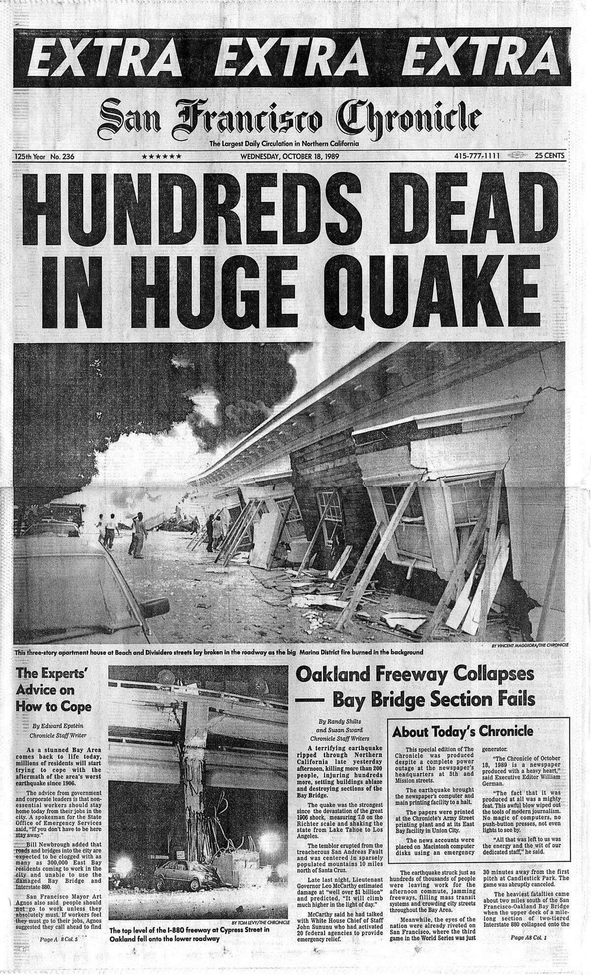 Historic Chronicle Front Page October 18, 1989 Loma Prieta earthquake strikes while less than a hundred died, there was massive damage to the Bay Area