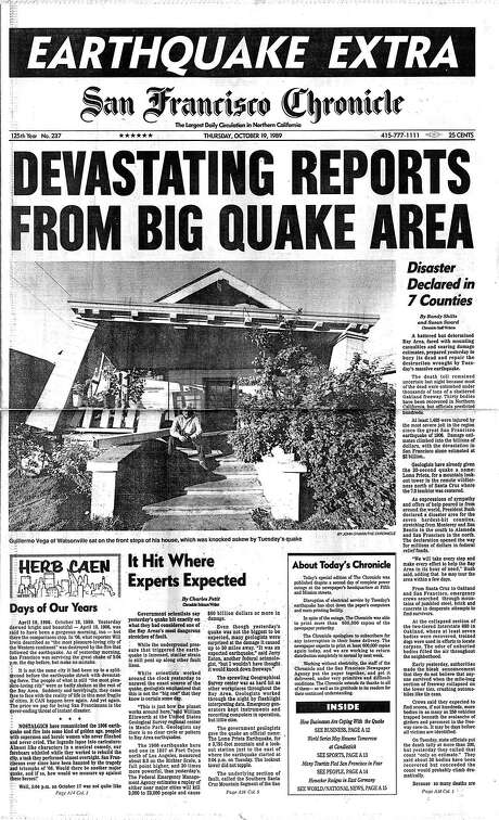 The Chronicle's front page from Oct. 19, 1989, covers the aftermath of the Loma Prieta earthquake. Photo: The Chronicle 1989