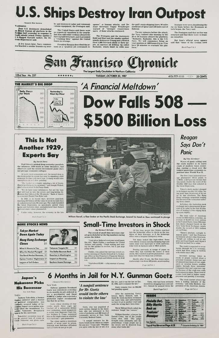 Historic Chronicle Front Page October  20, 1987  Huge drop in the stock market Dow falls over 20%