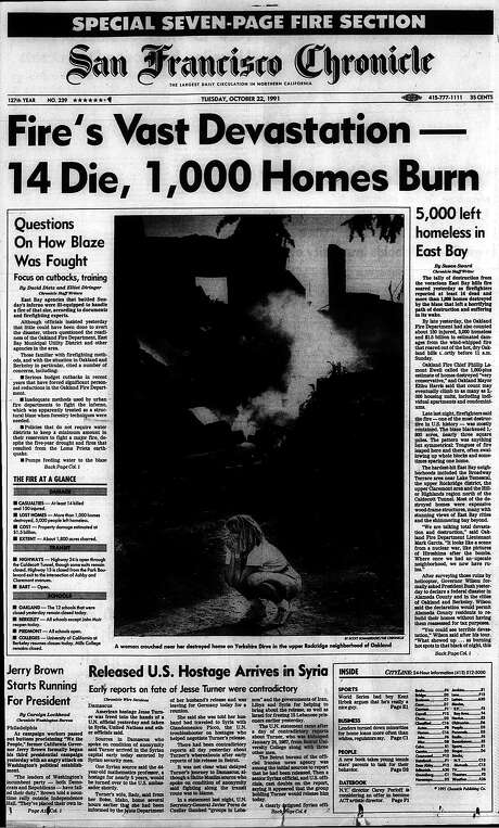 The Chronicle's front page from Oct. 22, 1991, covers the aftermath of the Oakland hills fire. Photo: The Chronicle 1991