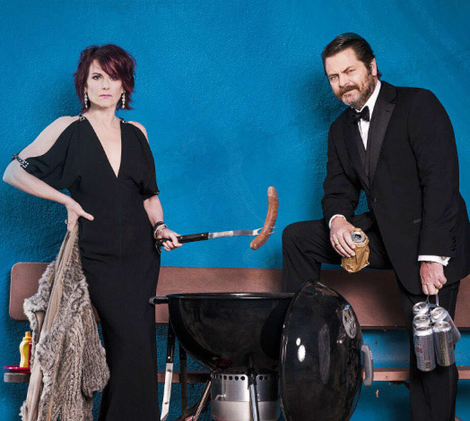 """Megan Mullally and Nick Offerman in a publicity photo for their variety show ?Summer of 69: No Apostrophe."""""""