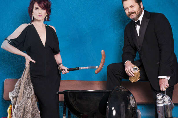 Megan Mullally and Nick Offerman in a publicity photo for their variety show ?Summer of 69: No Apostrophe.""