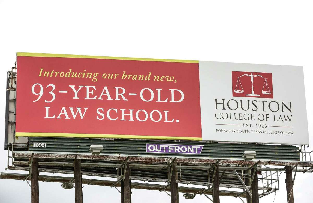 A billboard sign of Houston College of Law, formerly South Texas College of Law, is seen next to U.S. Highway 59 southbound and Caroline Street Friday, August 26 in Houston.