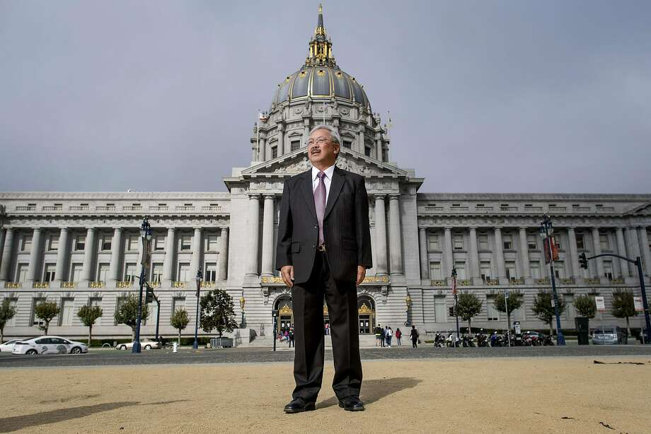 "Edwin ""Ed"" Lee, mayor of San Francisco, stands for a photograph outside of City Hall in San Francisco, California, U.S., on Wednesday, Aug. 17, 2016. Lee is the first Asian American mayor in San Francisco's history, as well as the first Chinese American elected to the office. Photographer: David Paul Morris/Bloomberg Photo: David Paul Morris, Bloomberg"