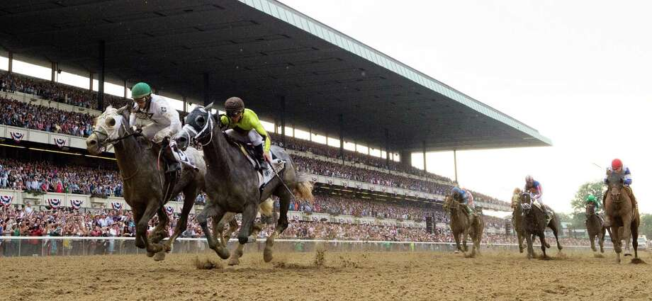 Creator and Destin fight it out to the finish in the 148th running of The Belmont Stakes Saturday June 11, 2016 in Elmont, N.Y.   (Skip Dickstein/Times Union) Photo: SKIP DICKSTEIN