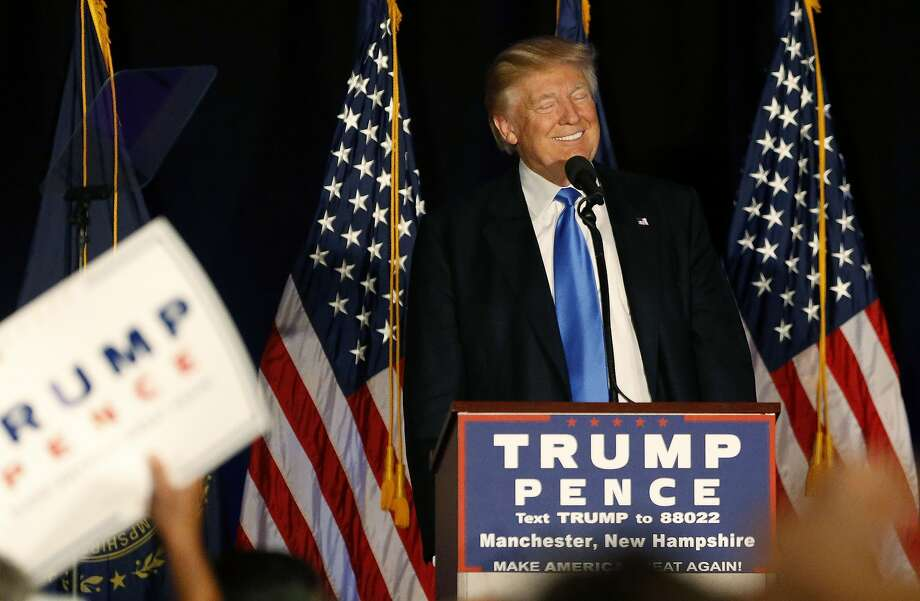 Republican presidential candidate Donald Trump smiles while speaking at a campaign rally in Manchester, N.H., Thursday, Aug. 25, 2016. (AP Photo/Gerald Herbert) Photo: Gerald Herbert, Associated Press