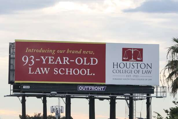 A billboard advertising the Houston College of Law, formerly South Texas College of Law, is seen near U.S. 59 southbound and Caroline Street on Friday.