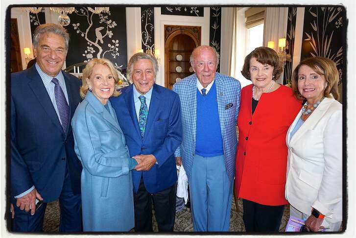 Paul Pelosi (at left) with Charlotte Shultz, Tony Bennett, The Hon. George Shultz, Sen. Dianne Feinstein and Rep. Nancy Pelosi at the Fairmont Hotel to celebrate the singer's 90th birthday. August 2016.