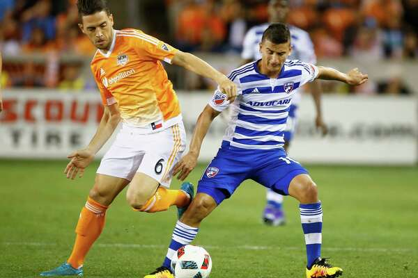 The Dynamo have enjoyed success this season containing FC Dallas' Mauro Diaz, right. But the attacking midfielder from Argentina looms as a key factor in determining Saturday's victor at BBVA Compass Stadium.