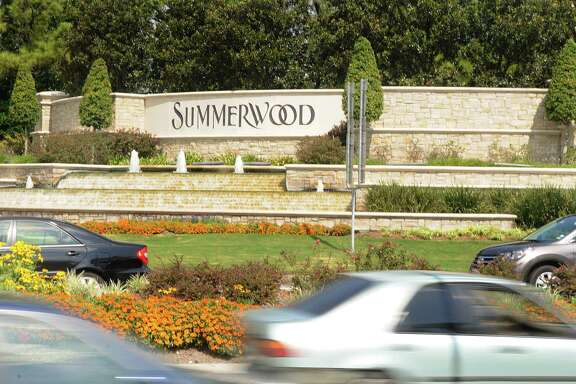 The entrance sign to the Summerwood community, at the corner of Beltway 8 and West Lake Houston Parkway. Summerwood is a 1,500-acre master planned community.