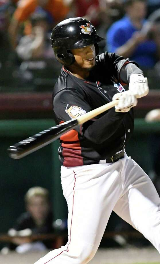 ValleyCats Kevin Martir swings at the ball during their baseball game against Lowell Spinners on Friday, Aug. 26, 2016, at Joe Bruno Stadium in Troy, N.Y. (Cindy Schultz / Times Union) Photo: Cindy Schultz / Albany Times Union
