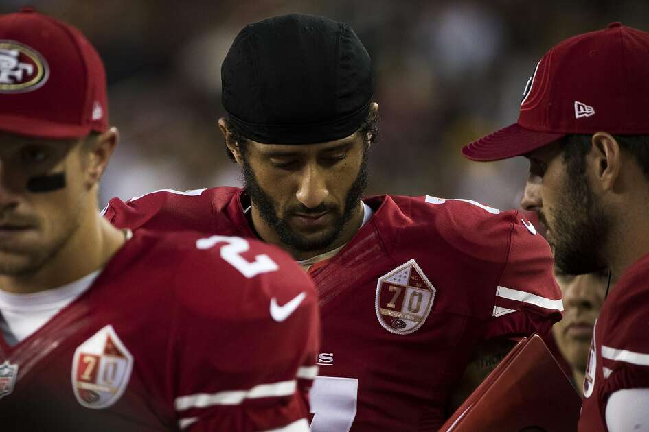 Quarterback Colin Kaepernick (7) of the San Francisco 49ers is seen on the sideline during the second quarter of his NFL preseason game against the Green Bay Packers at Levi's Stadium in Santa Clara, Calif. on Friday, Aug. 26, 2016.
