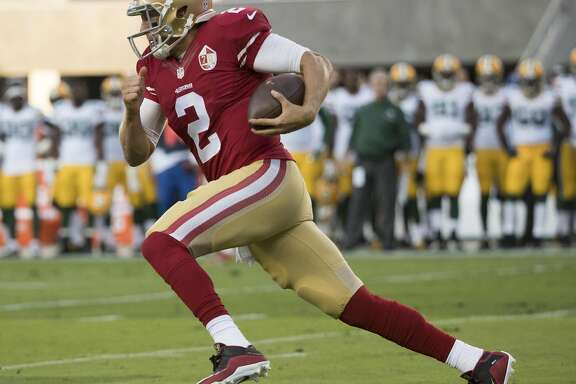 Quarterback Blaine Gabbert of the San Francisco 49ers scrambles during the first quarter of his NFL preseason game against the Green Bay Packers at Levi's Stadium in Santa Clara, Calif. on Friday, Aug. 26, 2016. The Packers defeated the 49ers 21-10.