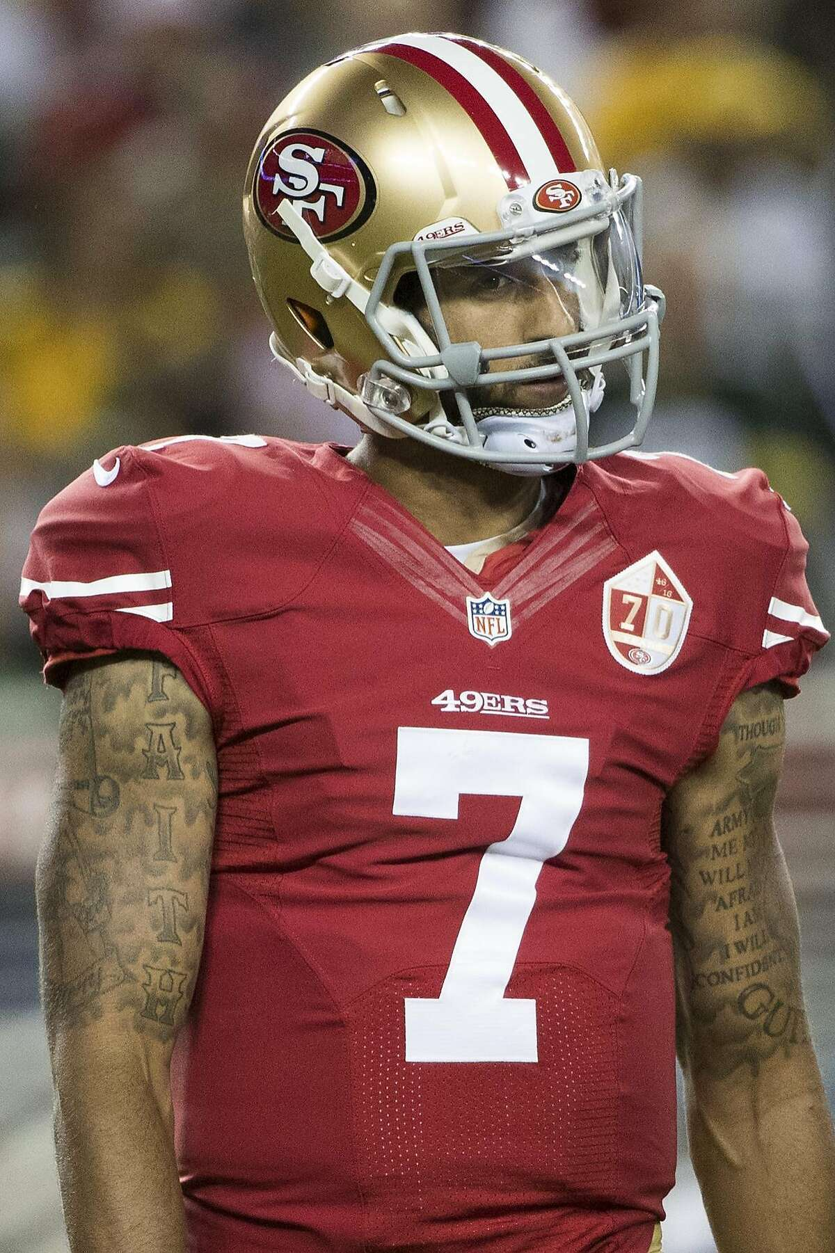Quarterback Colin Kaepernick (7) of the San Francisco 49ers is on the field after an incomplete pass during the second quarter of his NFL preseason game against the Green Bay Packers at Levi's Stadium in Santa Clara, Calif. on Friday, Aug. 26, 2016.