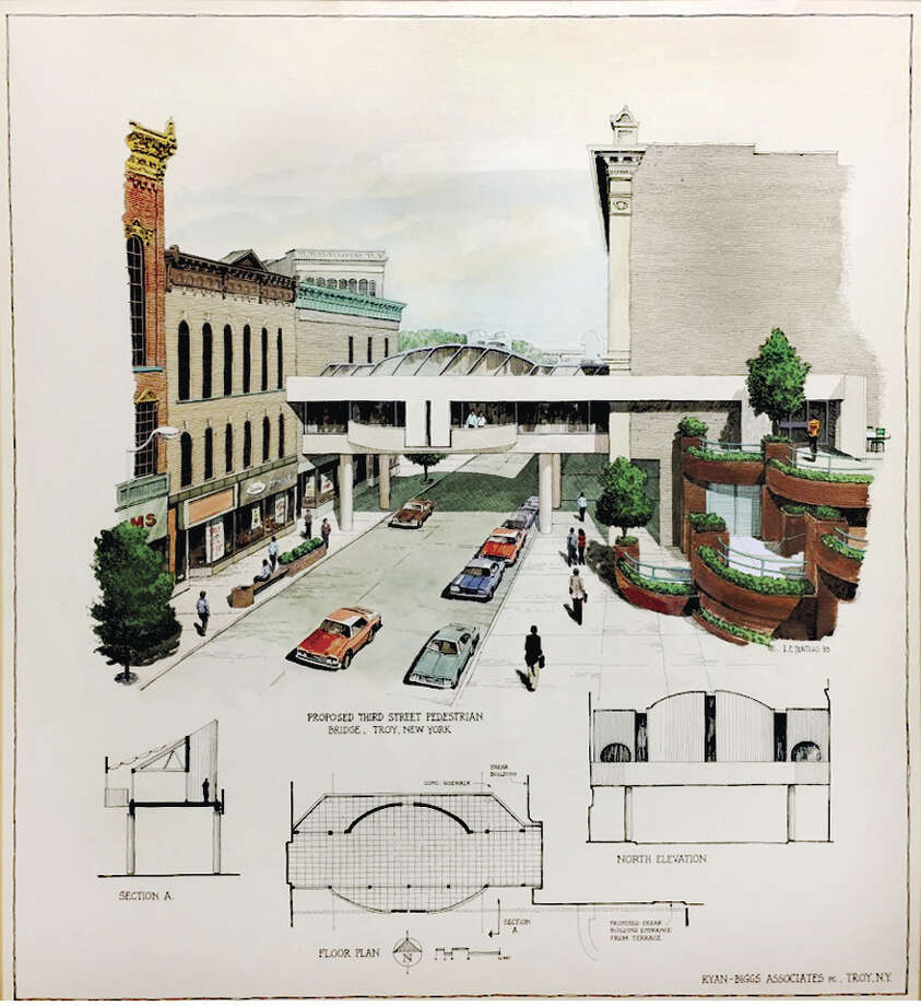 A drawing on the wall in the Troy planning department's conference room, from the 1970s, shows a pedestrian bridge spanning Third Street between the Troy Atrium Frear Building and buildings on the west side of Third. For some reason, the Third Street bridge was never built. A good thing because it would have blocked the view norht up Third to see Riverfront Park and the Hudson. (Times Union)
