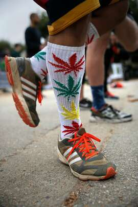Omar Cuevas of Castro Valley wore his marijuana themed socks for the event during the third annual 420 Games in Golden Gate Park in San Francisco, California on Sat August 27, 2016. Pro-marijuana athletes are eager to change the misconception that cannabis users are unmotivated and lazy.