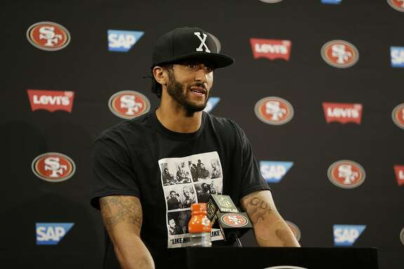 San Francisco 49ers quarterback Colin Kaepernick answers questions at a news conference after an NFL preseason football game against the Green Bay Packers Friday, Aug. 26, 2016, in Santa Clara, Calif. Green Bay won the game 21-10. (AP Photo/Ben Margot)