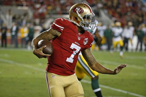 San Francisco 49ers quarterback Colin Kaepernick during the first half of an NFL preseason football game against the Green Bay Packers Friday, Aug. 26, 2016, in Santa Clara, Calif. (AP Photo/Tony Avelar)