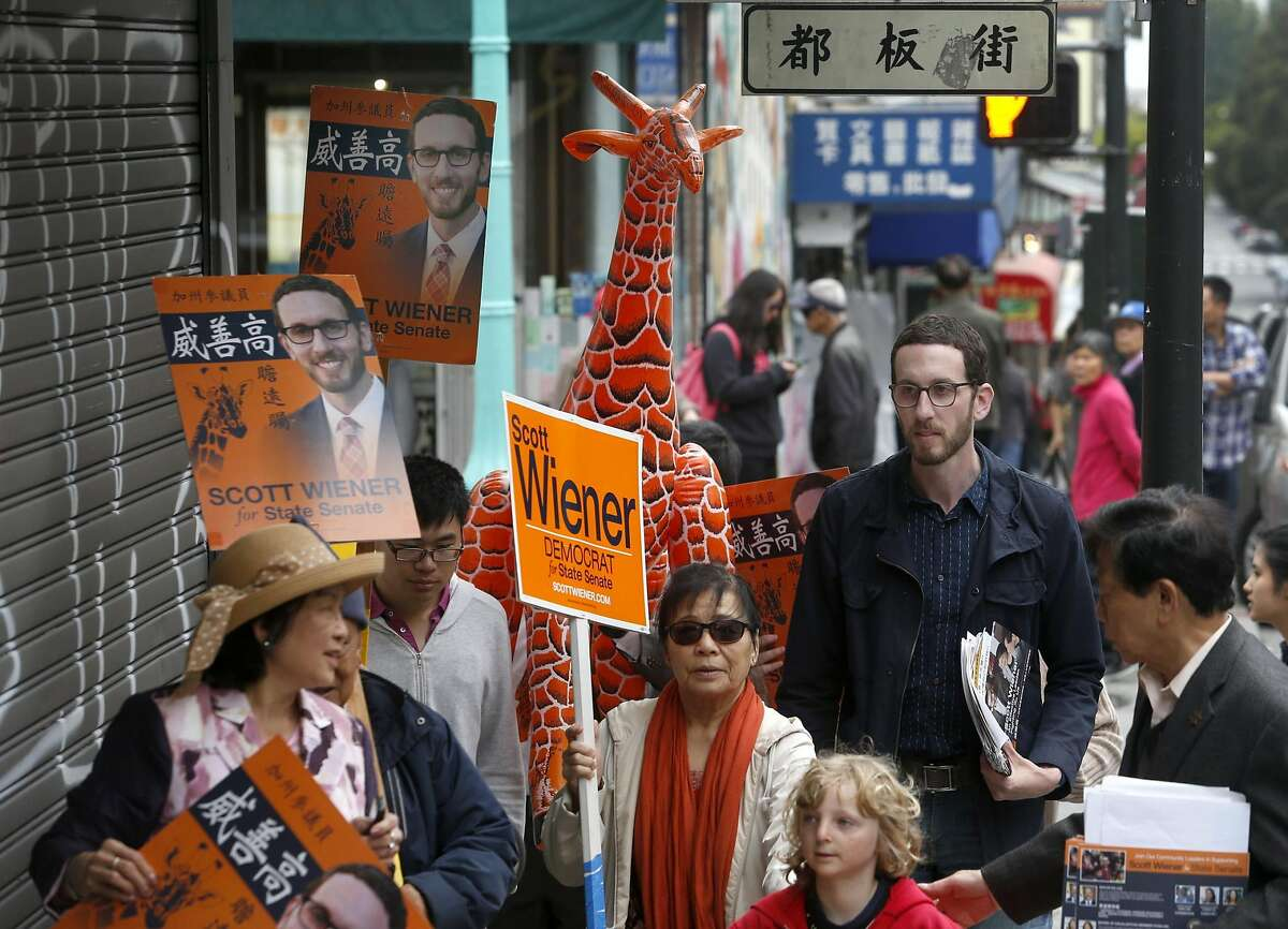 """Supervisor Scott Wiener campaigns on Washington Street with the help of supporters armed with inflatable giraffes in San Francisco, Calif. on Aug. 27, 2016. Wiener has embraced his nickname of """"Giraffe"""" given to him by Chinese community leader Rose Pak, while campaigning for the state senate in Chinatown."""