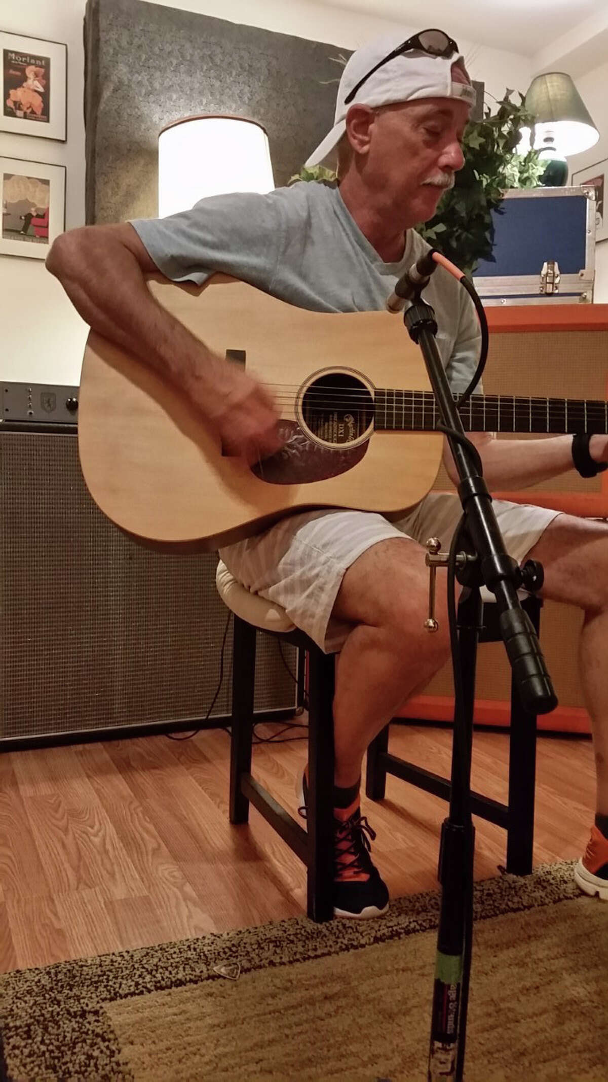 Jim Miccio is writing new songs and recording them in a Bethel studio.