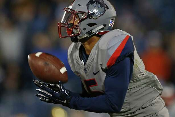 UConn WR Noel Thomas catches a touchdown against Houston last November. Thomas had a team-high 54 catches last season for 719 yards and four touchdowns.