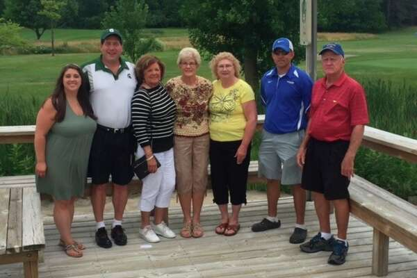 Photo provided From left, Tori Hahn, granddaughter; Jeff Hahn; Dee Jozwiak, sister; Rosemary Hauri, sister; Karen Russell, sister; Kevin Dodick, MHS building and trades teacher; and Gary Jozwiak, brother-in-law.